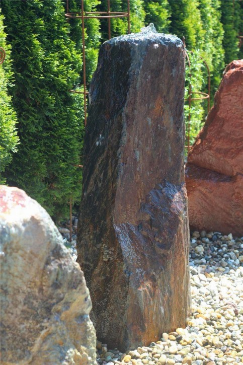 Wasserspiel SET Quellstein Monolith 117cm Schiefer Gartenbrunnen inkl. Pumpe