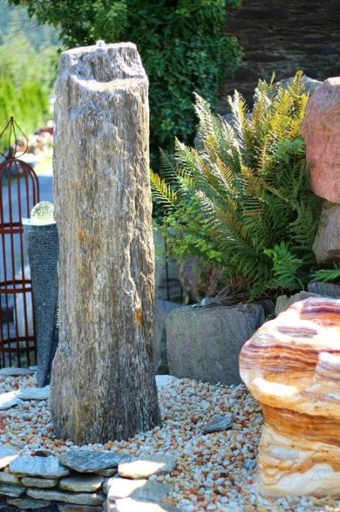 Wasserspiel SET Quellstein Säule Gneis 165cm Monolith Gartenbrunnen inkl. Pumpe