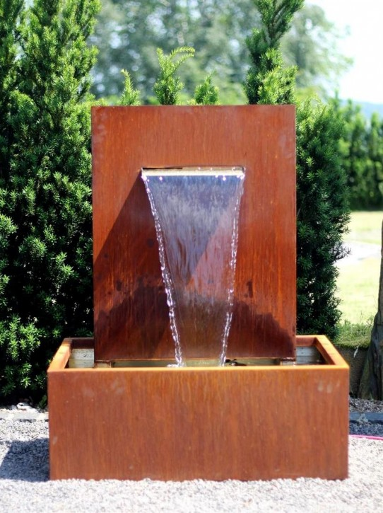 Wasserspiel Cortenstahl Wasserfall L30cm Gartenbrunnen Edelrost Design