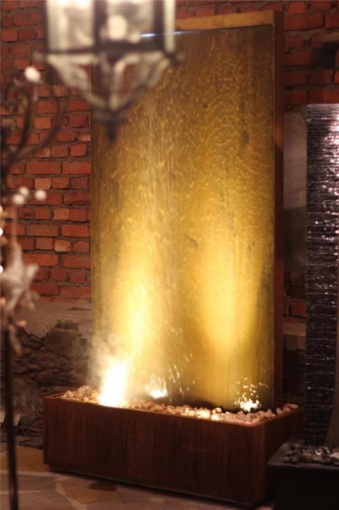 Zimmerbrunnen Cordon Gigant 220 Cortenstahl Wasserwand Edelrost Design