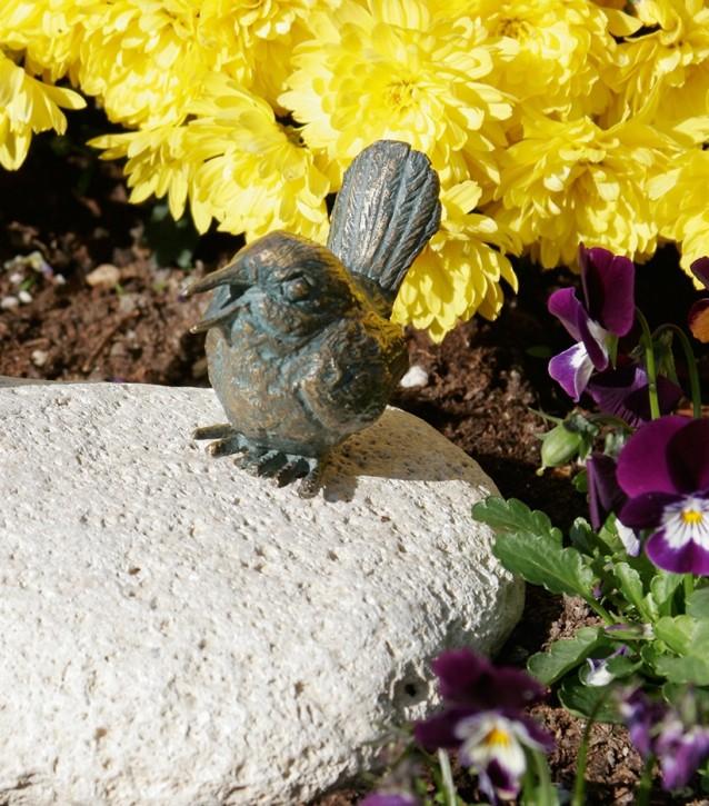 Bronzefigur Vogel singend 6cm Gartenfigur Bronze Skulptur Rottenecker