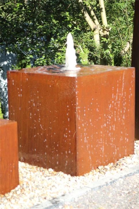 Wasserspiel SET Cortenstahl Würfel 100 Gigant Gartenbrunnen Edelrost Design