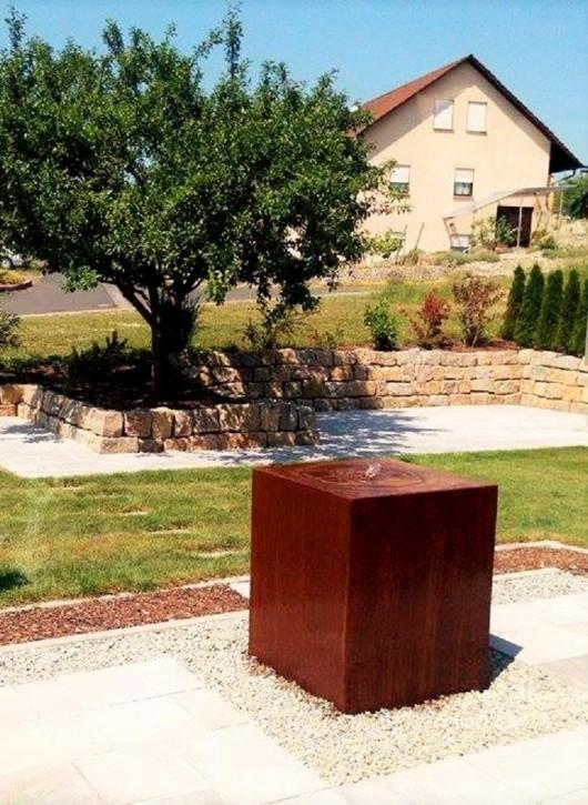 Wasserspiel SET Cortenstahl Säule 100cm Gartenbrunnen Edelrost Design