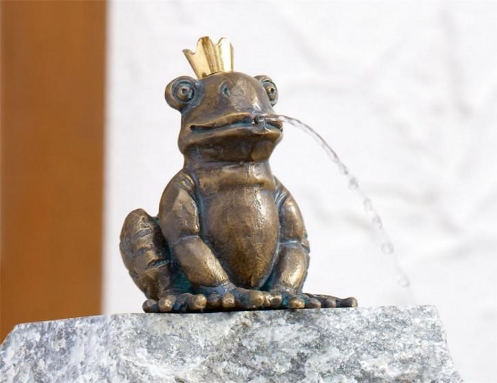 Bronzefigur Froschkönig Otto 11cm   Bronze Gartenfigur Wasserspeier Rottenecker
