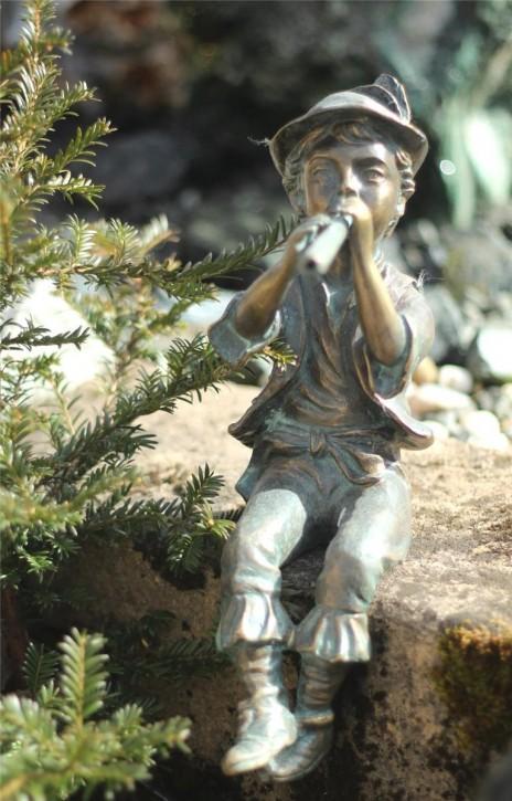Wasserspeier Flötenspieler Antoni 40cm als Wasserspiel Bronze Skulptur Rottenecker