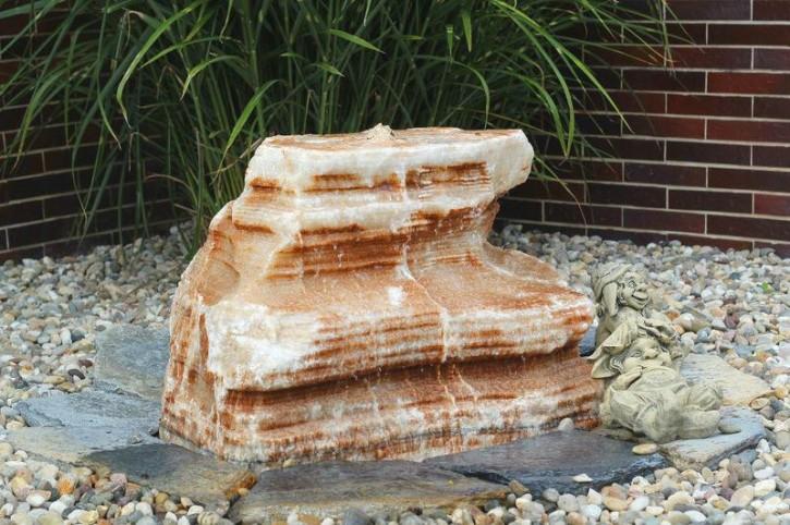 Wasserspiel SET Quellstein Onyx Marmor 55cm Gartenbrunnen inkl. Pumpe Becken