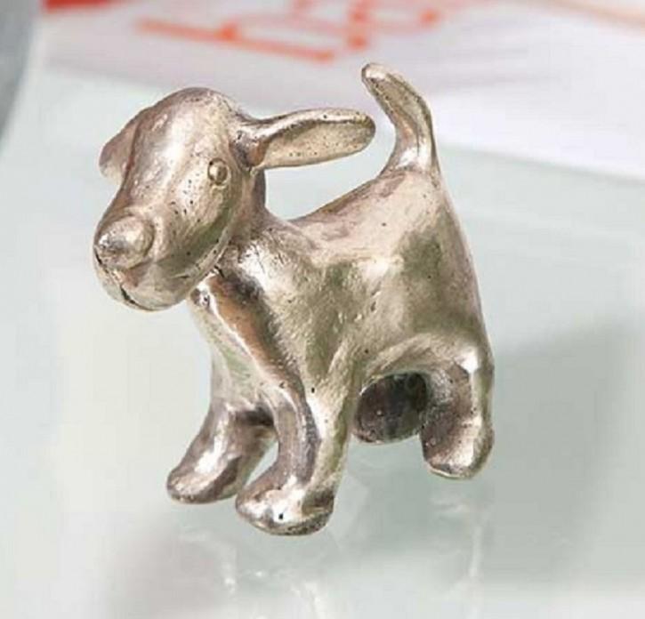 Bronzefigur Hund Maddie antiksilbern patiniert 5cm Bronze Skulptur Rottenecker