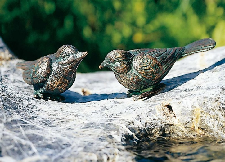 Bronzefigur Vogel nach oben schauend L10cm Bronze Gartenfigur Rottenecker