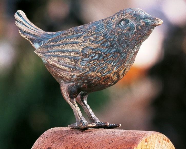Bronzefigur Vogel Zaunkönig stehend 6cm Bronze Gartenfigur Rottenecker