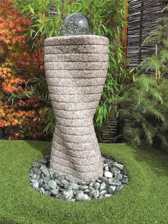 Wasserspiel SET Quellstein Säule 80cm Granit Gartenbrunnen mit dreh. Glaskugel