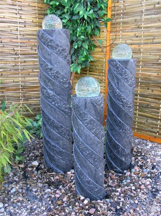 Wasserspiel SET Quellstein Säulen Taifun 110cm Granit Gartenbrunnen dreh. Glaskugel