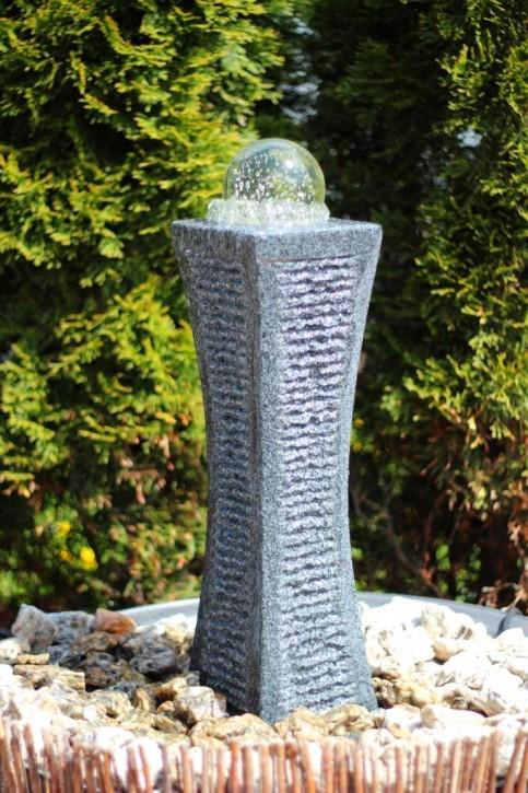 Wasserspiel SET Quellstein Säule Shima 50cm Granit Gartenbrunnen inkl. Pumpe