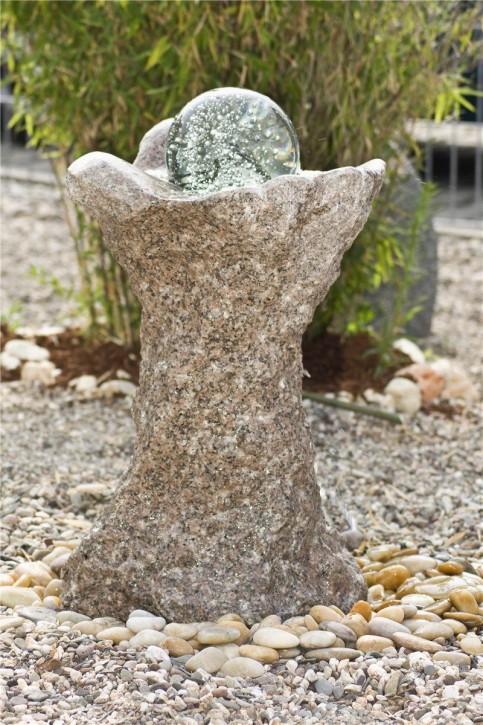 Wasserspiel SET Quellstein Säule Shui 70cm Granit Gartenbrunnen dreh. Glaskugel
