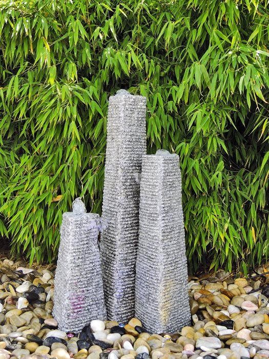 Wasserspiel SET 3er Säulen Canyu 80cm Granit Gartenbrunnen inkl. Pumpe Becken