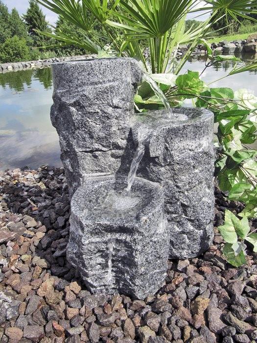 Wasserspiel SET Shugan 3er Säulen 45cm Granit anthrazit Gartenbrunnen inkl. Pumpe