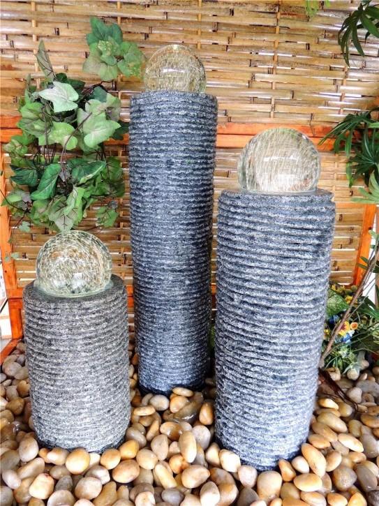 Wasserspiel SET 3er Säulen Ninda 80cm Granit Gartenbrunnen inkl. Pumpe Becken