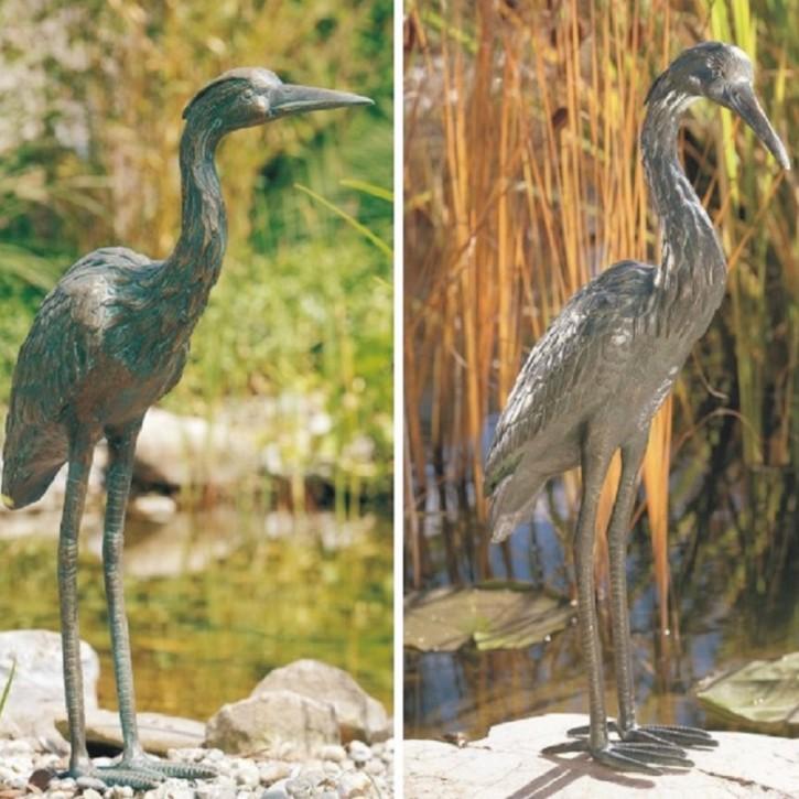 Bronzefigur Graureiher Set Bronze Fischreiher Gartenfigur Rottenecker