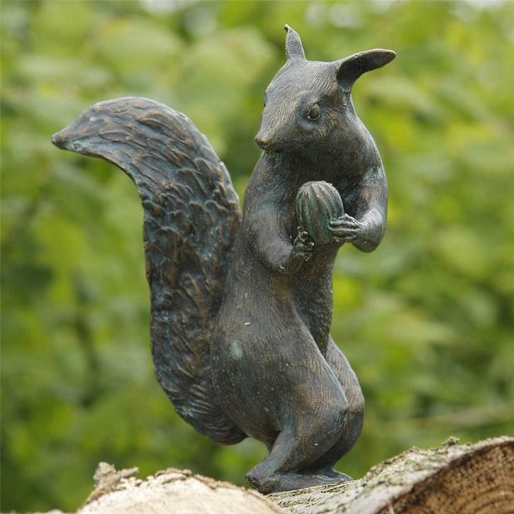 Bronzefigur Eichhörnchen 25cm Bronze Skulptur Gartenfigur Rottenecker