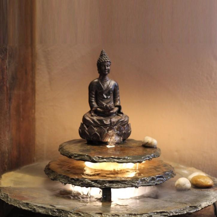 Zimmerbrunnen Kasumi Buddha Feng Shui Schieferbrunnen inkl. Beleuchtung