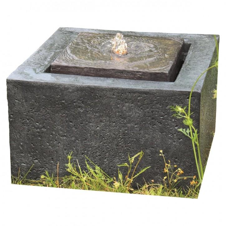 Quader Brunnen L50cm mit Wasserquelle Polystone Steinoptik inkl. Pumpe und LED