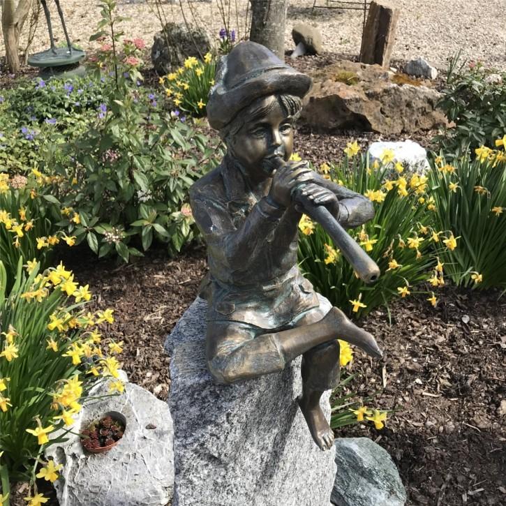 Wasserspeier Flötenspieler Johann 43cm als Wasserspiel Bronze Skulptur Rottenecker
