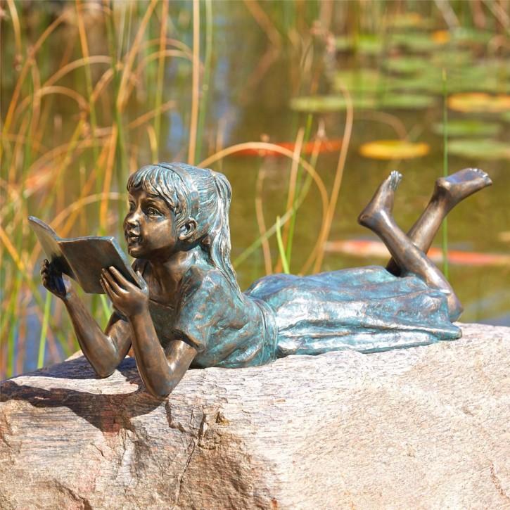 Bronzefigur Mädchen Lara die Leseratte L73cm | Bronze Gartenfigur von Rottenecker