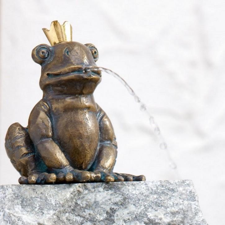 Bronzefigur Froschkönig Otto 11cm | Bronze Gartenfigur Wasserspeier Rottenecker