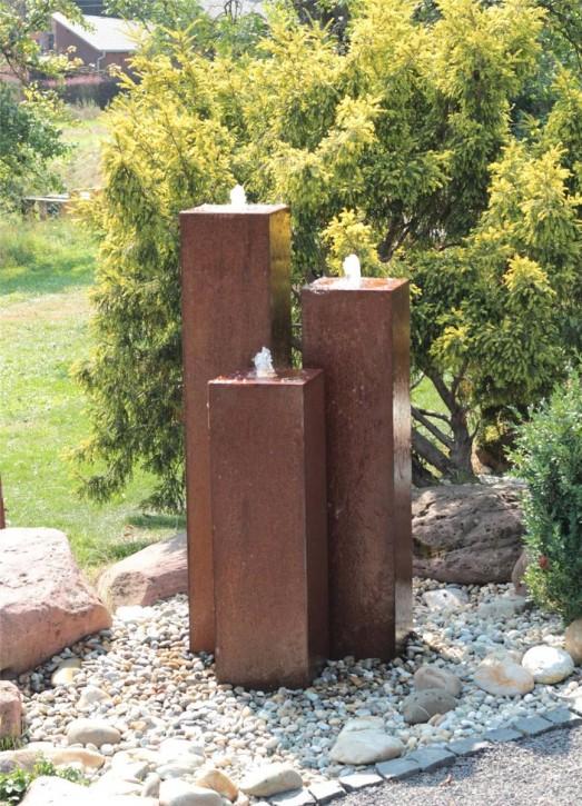 Cortenstahl Säulen Trio 150/30 Edelrost Gartenbrunnen Springbrunnen Komplettset
