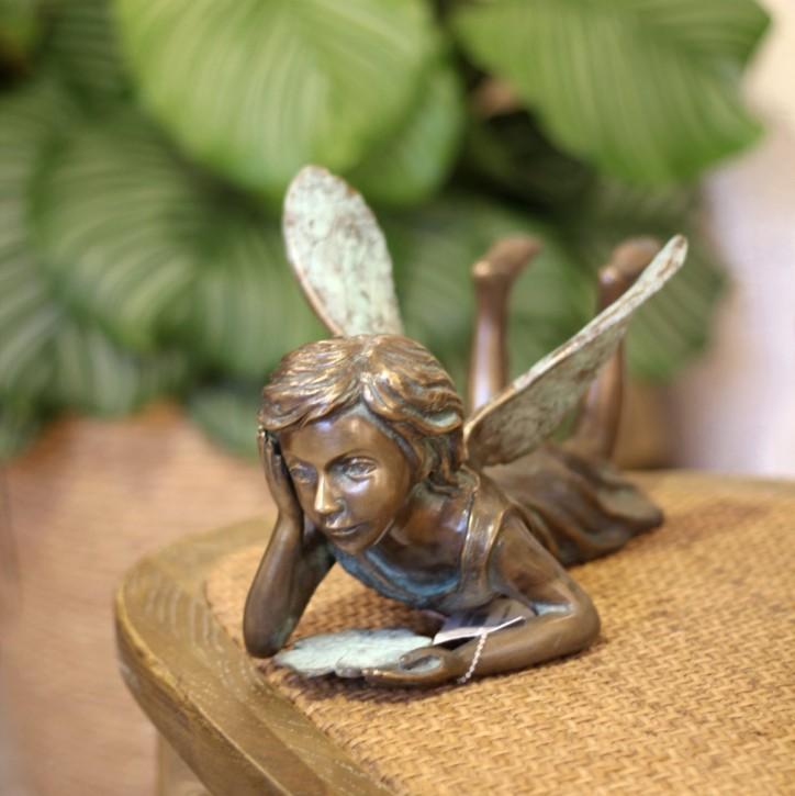 Bronzefigur Fee Elana liegend 17cm Gartenfigur Bronze Skulptur Rottenecker
