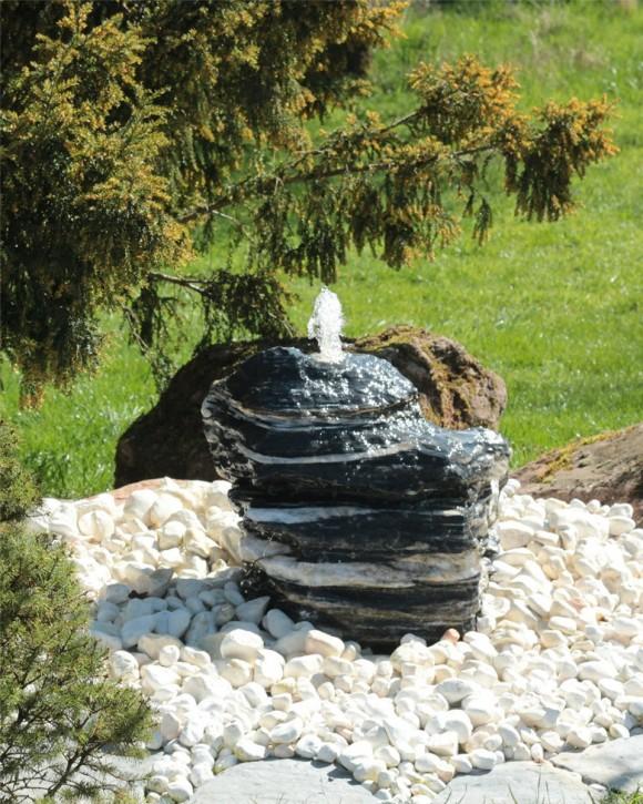 Quellstein Zebra Marmor 45cm Gartenbrunnen Springbrunnen Komplettset