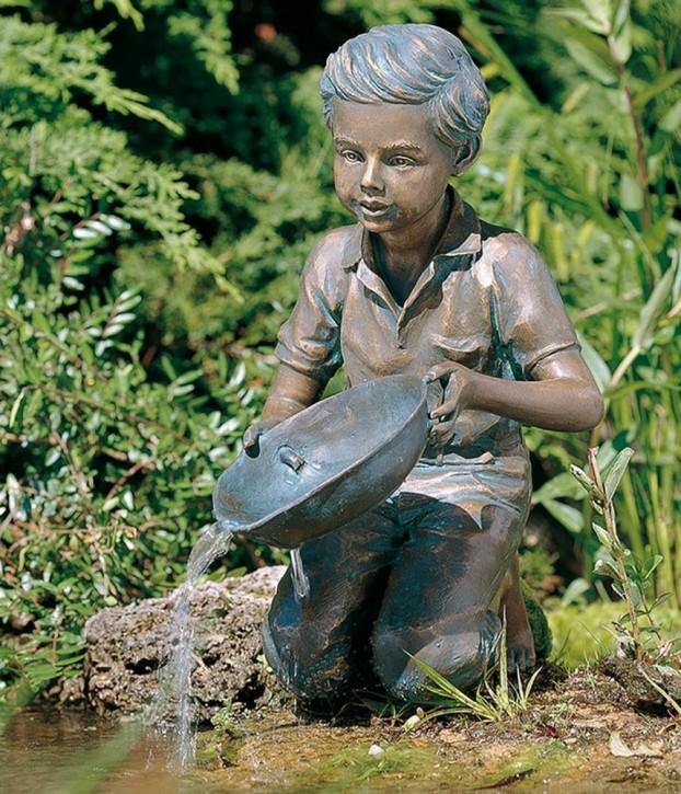 Bronzefigur Kind Simon 38cm Bronze Gartenfigur Wasserspeier Rottenecker