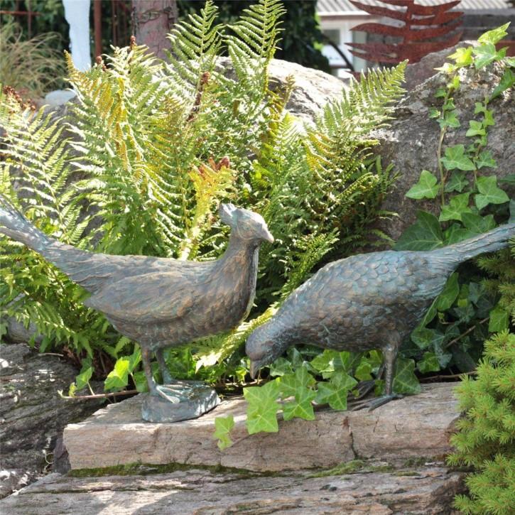 Bronzefigur Fasan Henne + Hahn L69cm Bronze Skulptur Gartenfigur Rottenecker