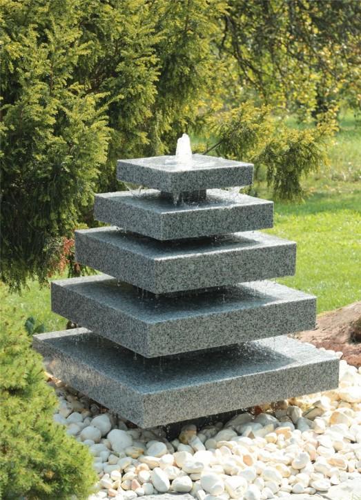 Wasserspiel SET Granit Pyramide 80cm Kristall grau Quellstein Gartenbrunnen Springbrunnen
