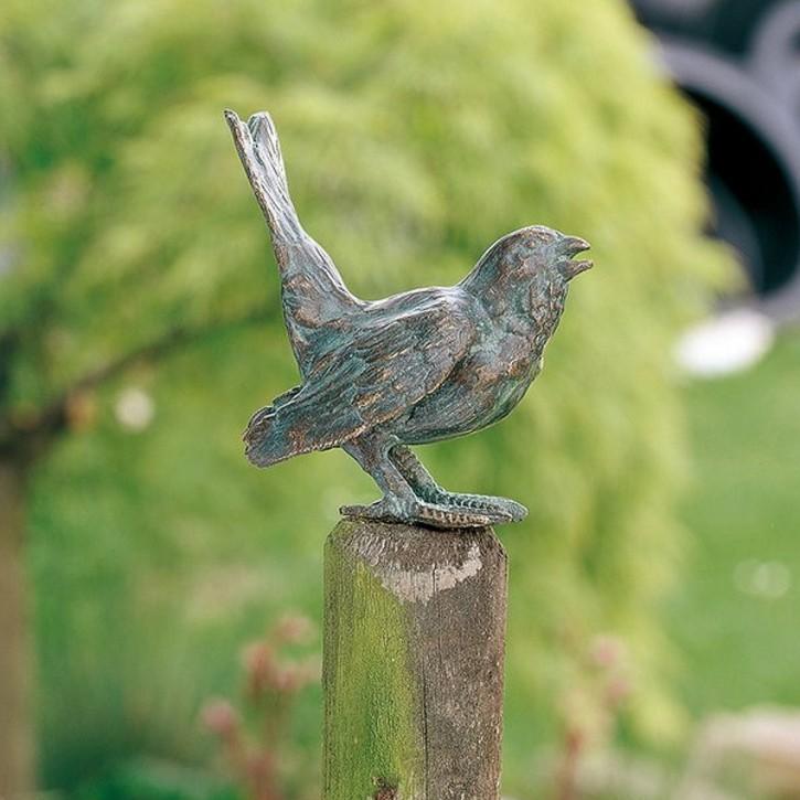 SONDERPREIS! Bronzefigur Vogel Haussperling 10 cm Bronze Gartenfigur Rottenecker