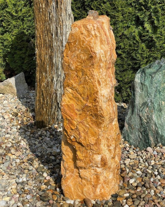 Quellstein Onyx Marmor 90cm Gartenbrunnen Springbrunnen Komplettset