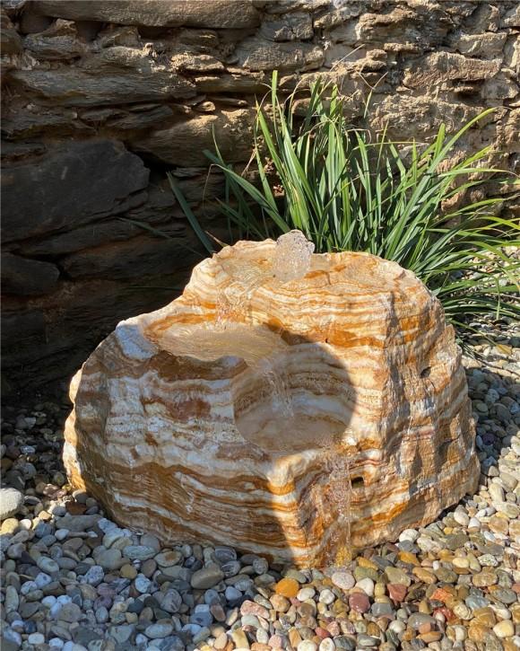 Quellstein Bachlauf L60cm Onyx Marmor Gartenbrunnen Springbrunnen Komplettset