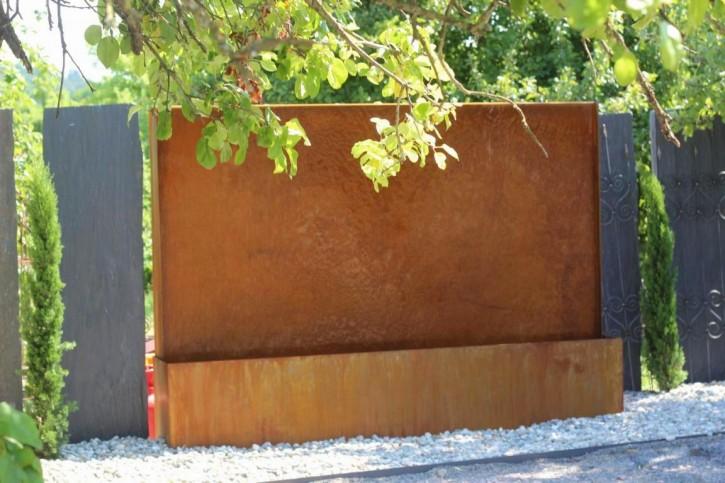 Wasserspiel SET Cortenstahl Wasserwand L250cm Gartenbrunnen Edelrost Design