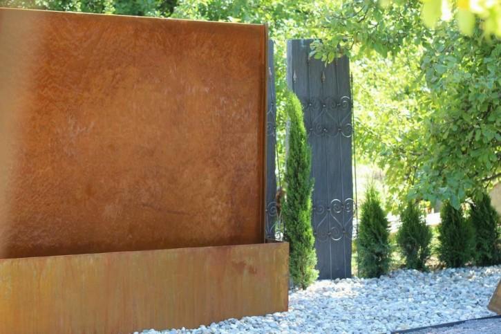 Wasserspiel SET Cortenstahl Wasserwand L300cm Gartenbrunnen Edelrost Design