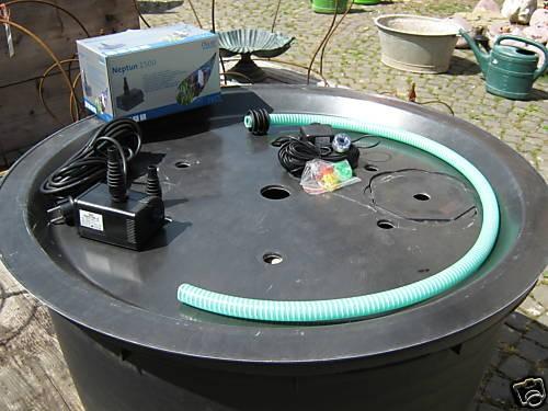 PE Becken mit GFK Deckel Ø90x35 | Pumpe Oase Aquarius Universal 1500 | LED