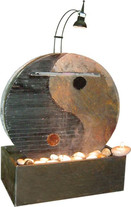 Zimmerbrunnen Ying Yang 40 Wasserwand Feng Shui Schieferbrunnen