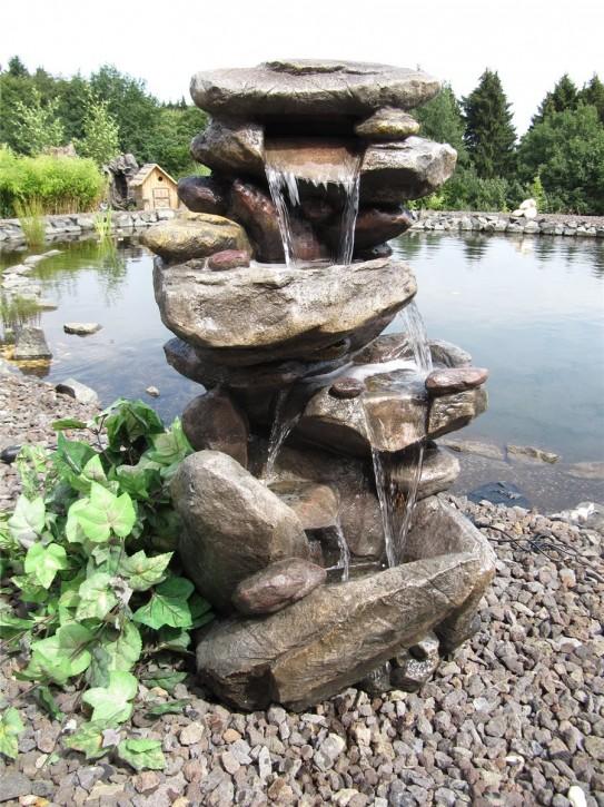 Zierbrunnen Jibey 100 cm Polystone Wasserfall inkl. Pumpe und LED Beleuchtung