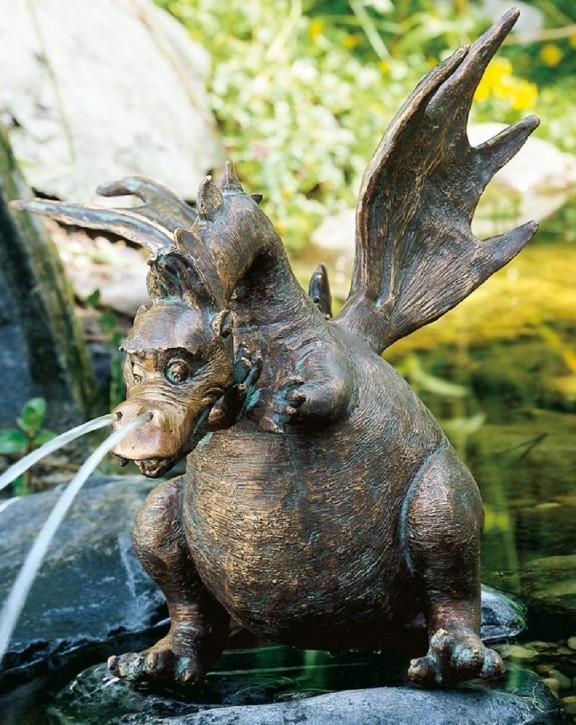 Gartenfigur Drache Drusilla 27 cm Wasserspiel aus Bronze für Garten, Teich und Bachlauf