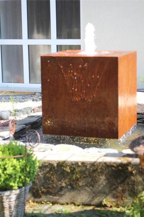 Wasserspiel SET Cortenstahl Würfel 80 Schwebeoptik Gartenbrunnen Edelrost