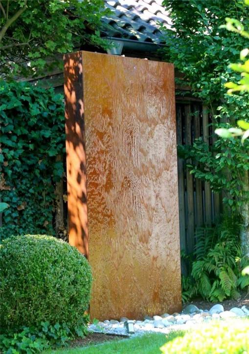 Wasserspiel SET Cortenstahl Wasserwand 200cm Edelrost Gartenbrunnen Springbrunnen