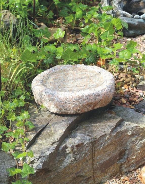 Vogeltränke Granit rosa rund 30cm Naturform Vogelbad für Garten