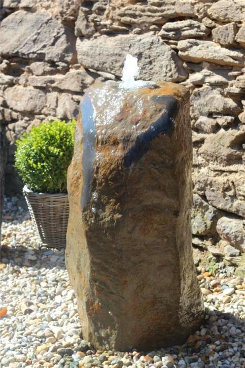 Wasserspiel SET Quellstein Monolith 97cm Basalt Gartenbrunnen inkl. Pumpe