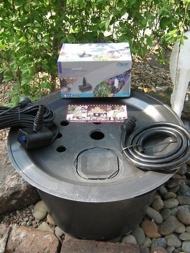 PE Becken mit GFK Deckel Ø66cm | Pumpe Oase Aquarius Universal 1000 | LED