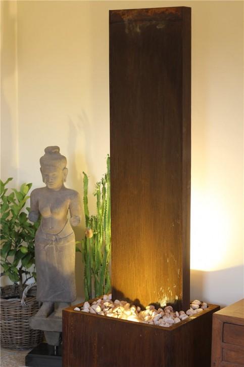 Zimmerbrunnen Cordon 180 | Wasserwand Cortenstahl Edelrost Design