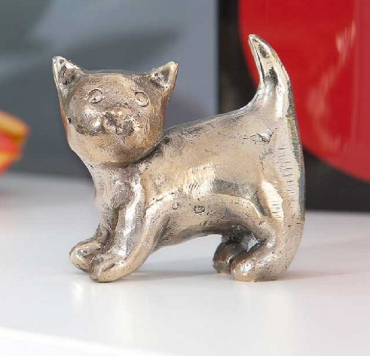 Bronzefigur Katze Luna antiksilbern patiniert 5cm Bronze Skulptur Rottenecker