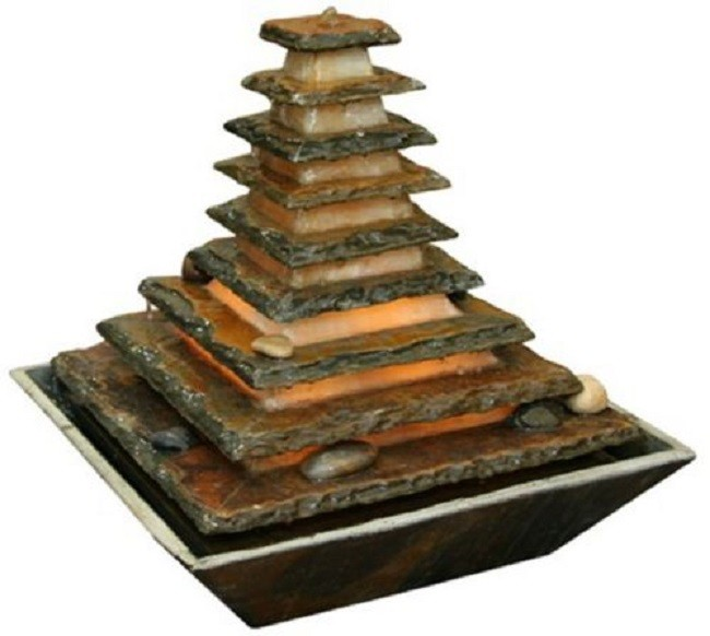 zimmerbrunnen pyramide 40 feng shui schieferbrunnen inkl. Black Bedroom Furniture Sets. Home Design Ideas